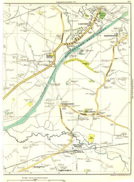 Associate Product LANCS.Cadishead,Partington,Hollins Green,Warburton,Heatley Heath 1935 old map