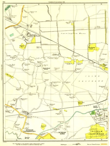Associate Product CHESHIRE.Sinderland Green,Dunham Woodhouses,town,New Park,Lower Houses 1935 map