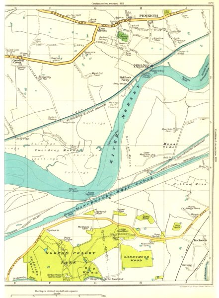 Associate Product LANCS.Norton Priory Park,Keckwick,Fiddler's Ferry,Penketh 1935 old vintage map