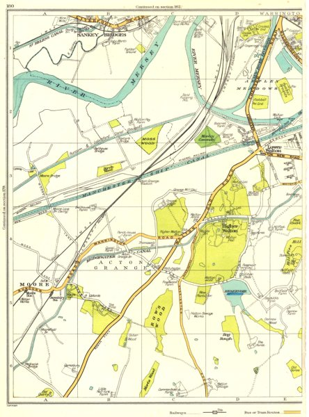 CHESHIRE.Warrington,Sankey Bridges,Lower Higher Walton,Mersey,Moore 1935 map
