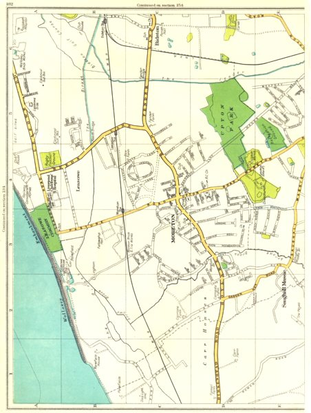 Associate Product CHESHIRE.Moreton,Leasowe,Saughall Massie,Bidston,Wallasey 1935 old vintage map