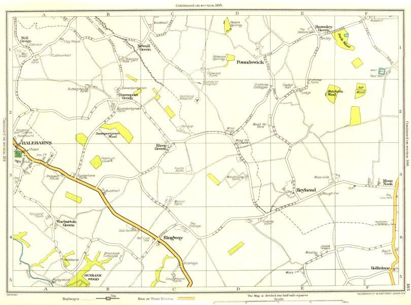 Associate Product CHESHIRE.Halebarns,Davenport,Ringway,Heyhead,Warburton,Moss Nook 1935 old map