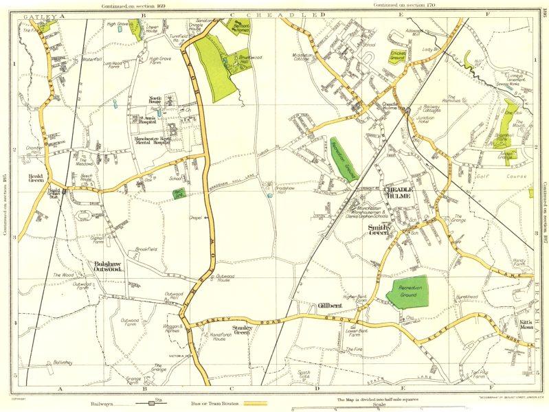 Associate Product CHESHIRE.Gillbent,Smithy Green,Cheadle Hulme,Bolshaw Outwood,Heald Grn 1935 map