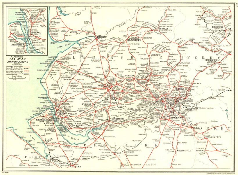 Associate Product LANCASHIRE.Cheshire Yorkshire. Map showing Railway Communications 1935 old