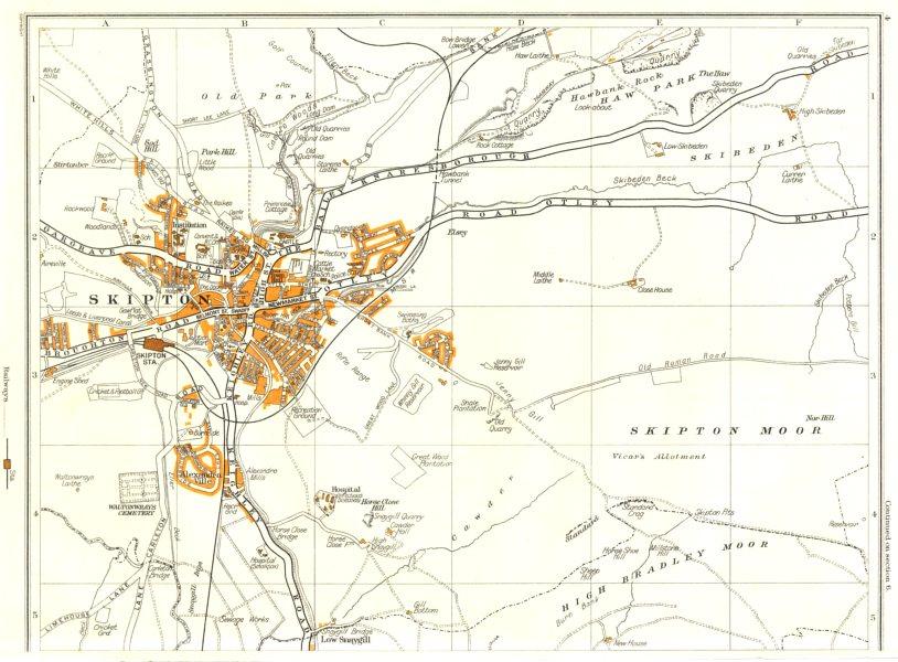 Associate Product SKIPTON.High Bradley Moor,Low Snaygill,Skibeden,Woodlands 1935 old vintage map