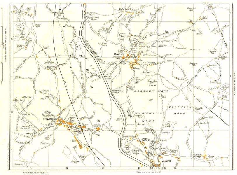 Associate Product YORKS.Airedale,Bradley,Cononley,High Farnhill,Low Moor,Kildwick Grange 1935 map