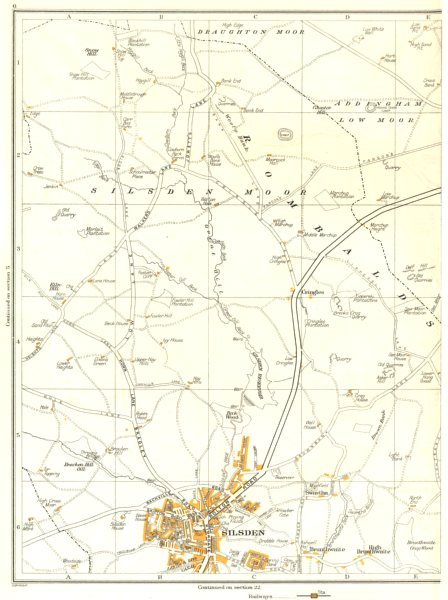 Associate Product YORKSHIRE.Silsden,Draughton Moor,Brunthwaite,Cringles,Addingham 1935 old map