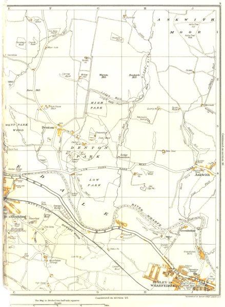 Associate Product YORKS.Askwith Moor,Burley-In-Wharfedale,Denton,Ben Rhydding,Greenholme 1935 map