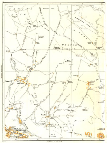 Associate Product YORKS.Askwith,Weston,Clifton,Burley-In-Wharfedale,Greenholme,Otley 1935 map