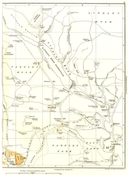 Associate Product YORKSHIRE.Lindley Moor,Wood,Farnley,Leathley,Springs,Otley,Newall 1935 old map
