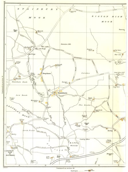 Associate Product YORKS.Stainbury Moor,Stainburn,Riffa Wood,Newby,Braythorn,Huby 1935 old map