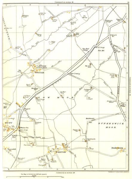 Associate Product YORKSHIRE.Rigton,Low Moor,Dunkeswick Moor,Dunkeswick,Weeton,Huby 1935 old map