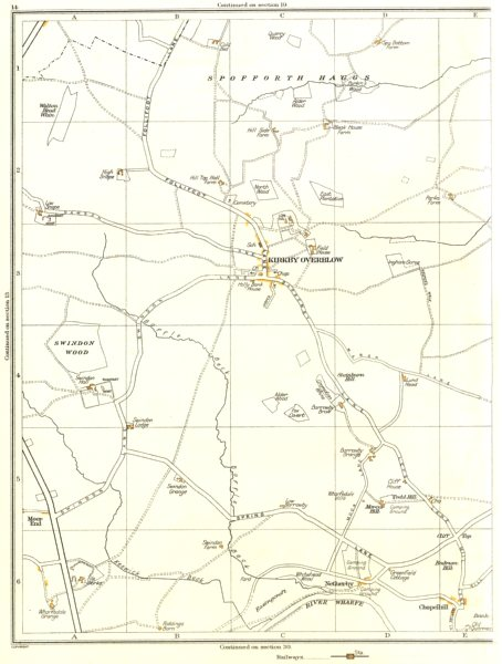 Associate Product KIRKBY OVERBLOW.Spofforth Haggs,Netherby,Chapelhill,Spacey Houses 1935 old map