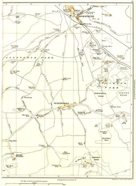 YORKSHIRE.Spofforth,Spring Wood,Sicklinghall,Limekiln,Stockeld Park 1935 map