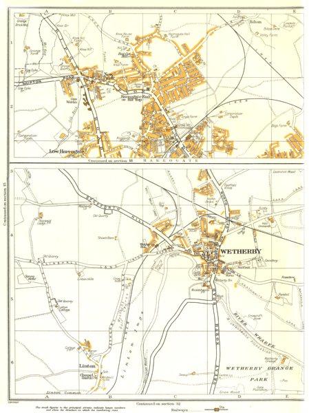 Associate Product WETHERBY HARROGATE.New Park,Linton,Linton Ings,Bilton,New Park 1935 old map