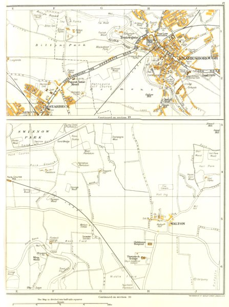 Associate Product YORKS.Starbeck,Forest Lane Head,Tentergate,Knaresborough,Wetherby 1935 old map