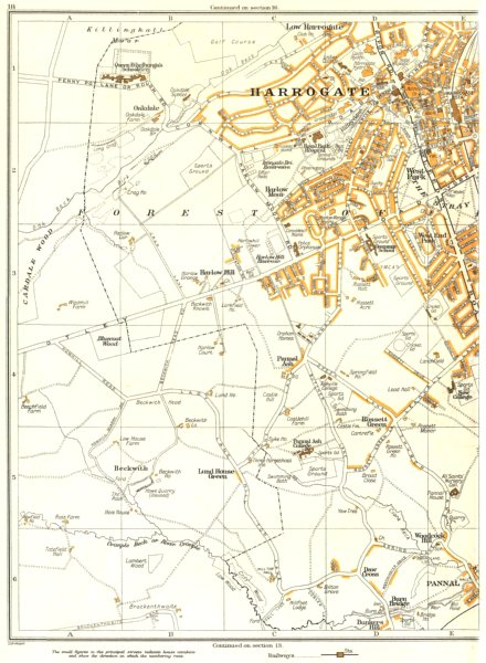 Associate Product HARROGATE.Harlow Hill,Beckwith,Pannel,Rossett Green,Burn Bridge 1935 old map