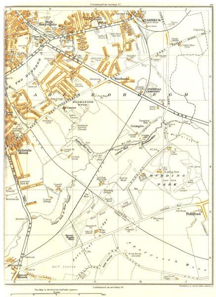 Associate Product HARROGATE.Aresborough,Crimple,Rudding,Follifoot,Starbeck,Oatlands Mt 1935 map