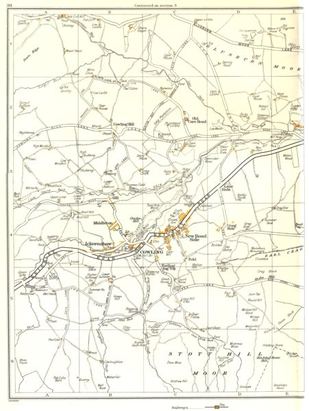 Associate Product YORKS.Cooling,Stott Hill Moor,Middleton,Gill,Ickornshaw,New Road Side 1935 map