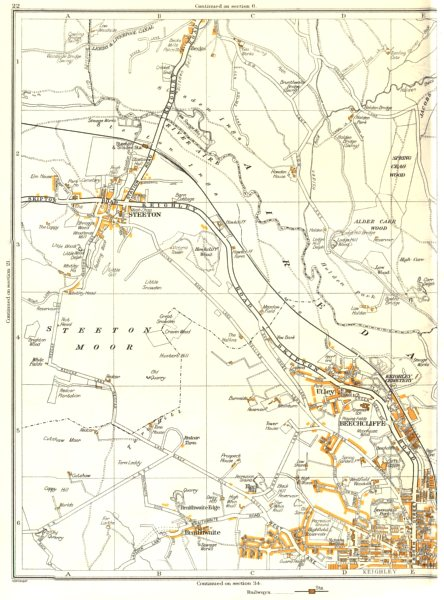 Associate Product KEIGHLEY.Steeton,Alder Carr,Spring Crag,Beechcliffe,Braithwaite,Utley 1935 map