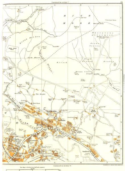 Associate Product KEIGHLEY.Aireworth,Rivock,The Height,Riddlesden,Sandbeds,Stockbridge 1935 map