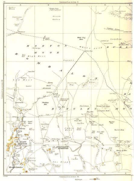 Associate Product YORKS.East Morton,Bingley,Rombalds,Micklethwaite,Green Gates,Botany 1935 map