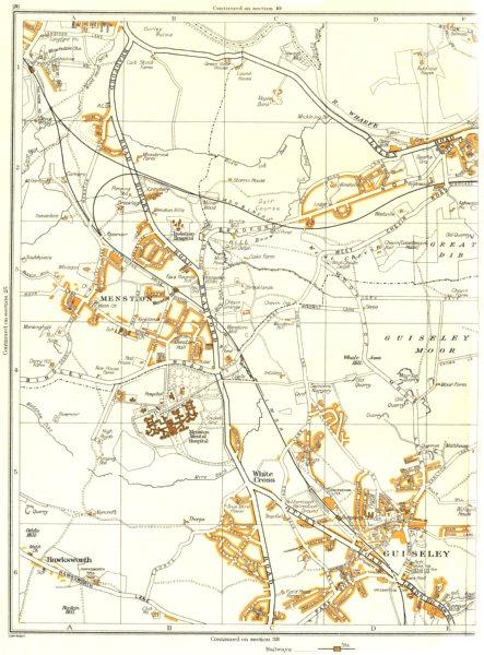 Associate Product GUISELEY.Otley,Guiseley Moor,Hawksworth,Menston,Whale Hill,White Cross 1935 map