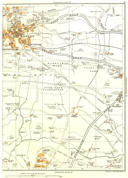 Associate Product OTLEY.Carlton Moor,Danefield Wood,Otley,Old Bramhope,Yeadon,Guiseley 1935 map