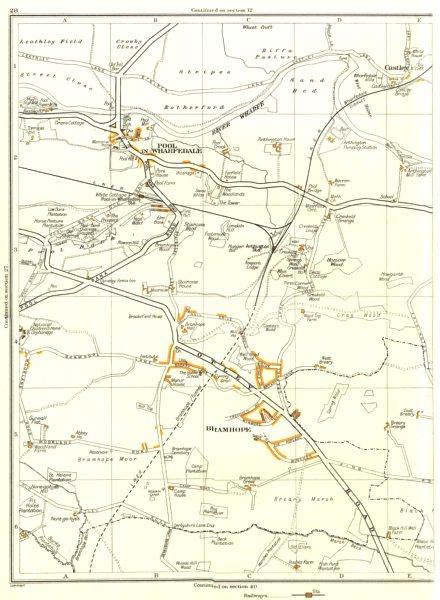 Associate Product YORKSHIRE.Bramhope,Pool in Wharfedale,Castley,Spring Wood,Hezicar 1935 old map