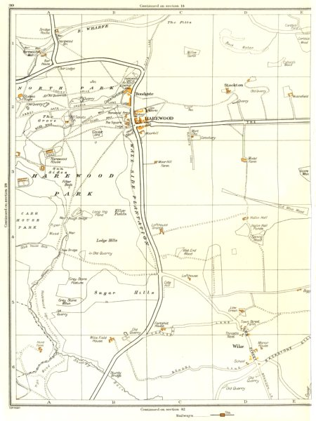 YORKSHIRE.Harewood,Wike,Harewood,Stockton,Bondgate 1935 old vintage map chart