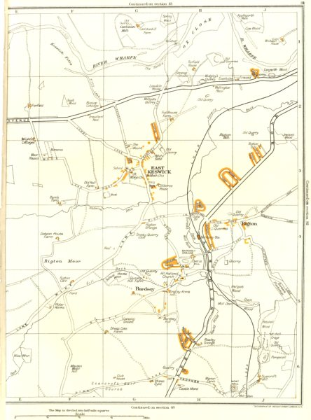 Associate Product YORKSHIRE.East Keswick,Bardsey,Rigton,Carlston Hill,Scarcroft 1935 old map