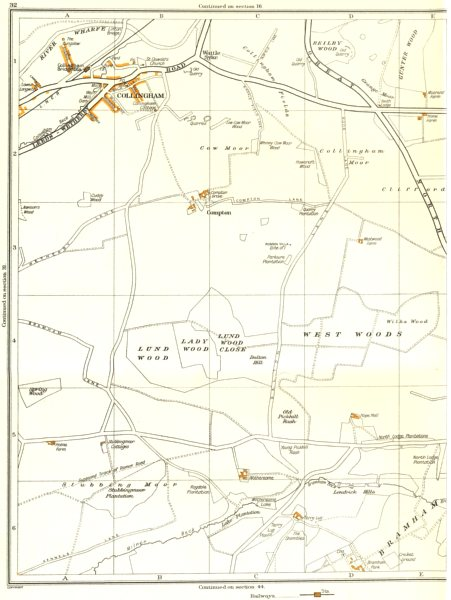 Associate Product YORKS.Beilby Wood;Collingham,Lady,Compton,Spring,Wattle Skye 1935 old map