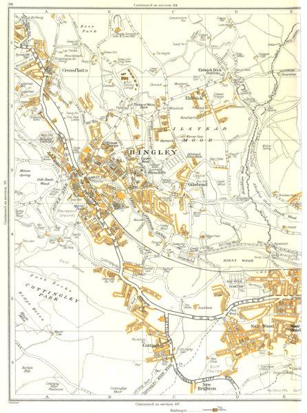 Associate Product BINGLEY.New Brighton,Cottingley,Glistead,Crossflatts,Eldwick 1935 old map
