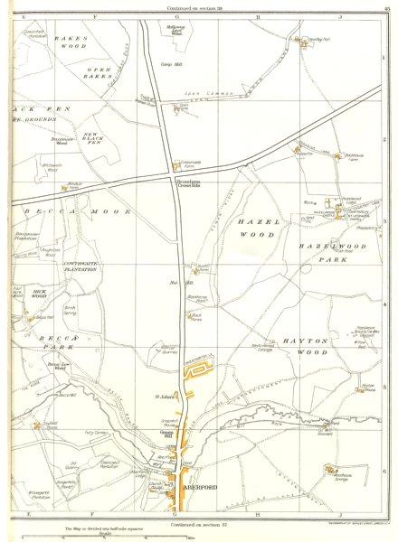 Associate Product YORKSHIRE.Aberford,Rakes Wood,Becca Moor,Park,Hayton,Hazelwood Castle 1935 map