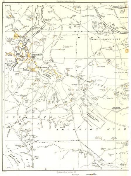 Associate Product YORKSHIRE.Thornton Moor,Oxenhope,Black Moor,Sawood,Stubden,Leeming 1935 map