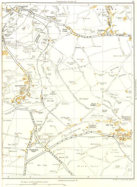 Associate Product YORKS.Hare Croft,Lingbob,Heights,Hill Top,Denholme,Black Carr,Wilsden 1935 map