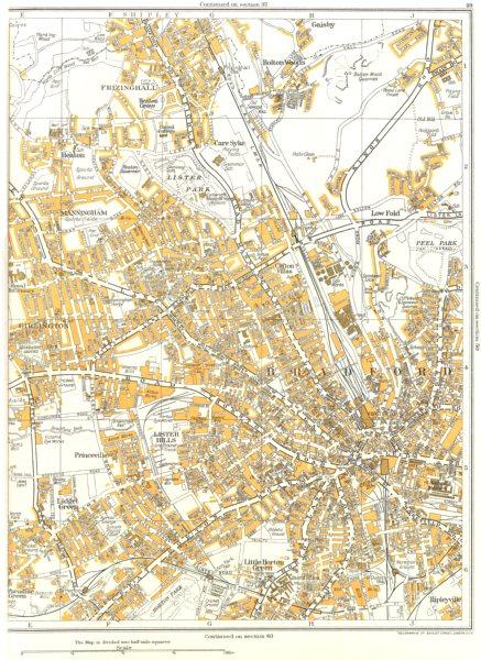 Associate Product BRADFORD.Princeville,Lister Hills,Frizinghall,Manningham,Girlington 1935 map