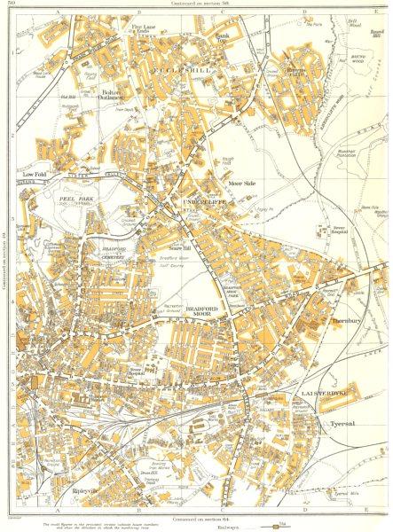 Associate Product BRADFORD.Moor,Tyersal,Laisterdyke,Thornbury,Side,Low,Ripleyville 1935 old map