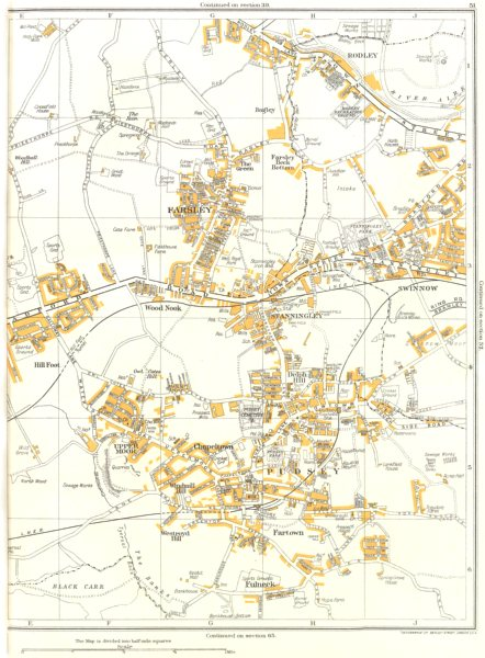 Associate Product YORKS.Pudsey,Farsley,Stanningley,Swinnow,Fartown,Fulneck,Upper Moor 1935 map