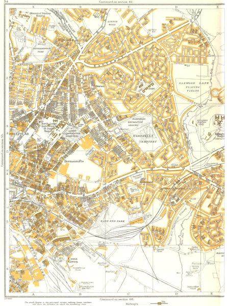 Associate Product LEEDS.Burmantofts,Sheepscar,Harehills,Osmondthorpe,Rookwood 1935 old map