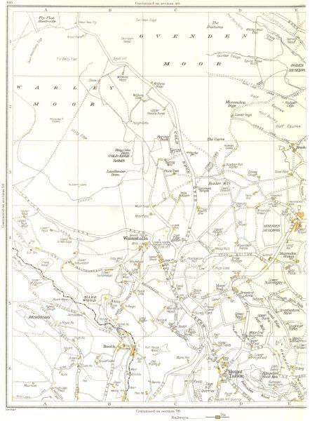 Associate Product YORKSHIRE.Ovenden Moor,Warley Moor,Wade Wood,Mount Tabor,Wainstalls 1935 map