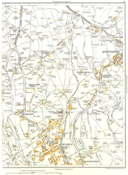 Associate Product YORKS.Ovenden,Boothtown,Illingworth,Queensbury,Ambler Thorn 1935 old map