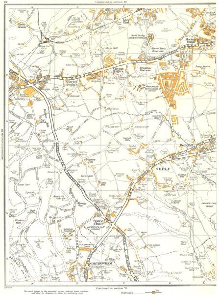 Associate Product BRADFORD.Horton Bank,Northowram,Queensbury,Shelf,Stone Chair,Beck Hill 1935 map