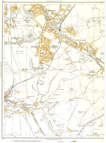 Associate Product YORKSHIRE.Bowling,Hunsworth,Drub,Bierley,Oakenshaw,Tong St,Dudley Hill 1935 map