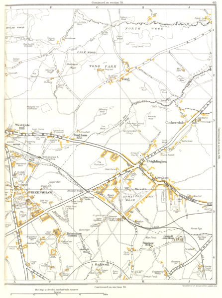 Associate Product YORKSHIRE.Birkenshaw,Drighlinton,Westgate Hill,Oakwell,Adwalton 1935 old map