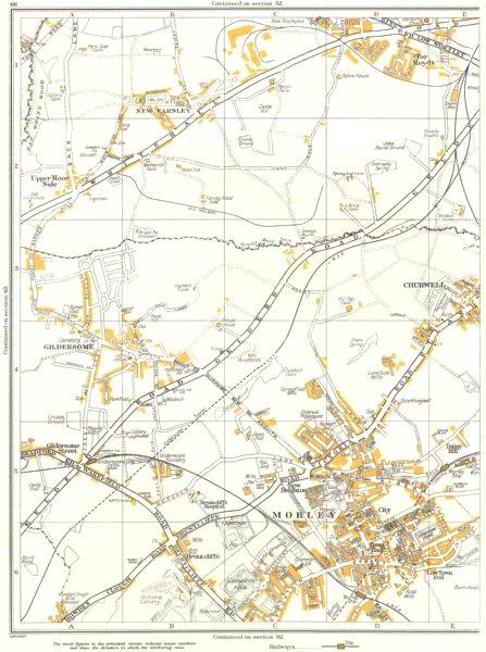 Associate Product LEEDS.Morley,Gildersome,Churwell,Clark Spring,New Farnley,Far Royds 1935 map
