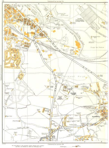 Associate Product LEEDS.Rothwell,Haigh,Carlton,Robin Hood,Stourton,Kiddow Spring 1935 old map