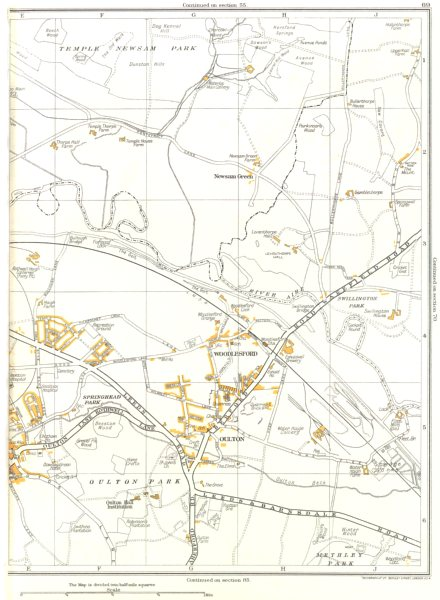 Associate Product YORKS.Rothwell,Newsam Green,Oulton,Winter Wood,Woodlesford 1935 old map