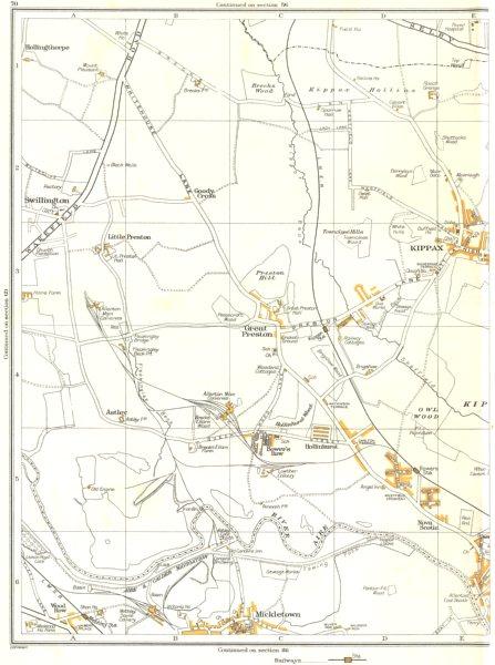 Associate Product YORKS.Great Preston,Kippax,Swillington,Nova Scotia,Mickleton 1935 old map