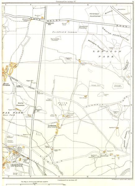 Associate Product YORKSHIRE.North Park,Ledston,Mount Pleasant,Kippax,Allerton Bywater 1935 map